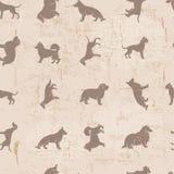 O cão produz o teste padrão sem emenda gasto do vintage das silhuetas Fotos de Stock Royalty Free