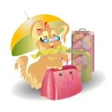 O cão protege malas de viagem em desenhos animados do curso Foto de Stock Royalty Free