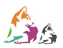 O cão senta a cor Imagem de Stock Royalty Free