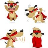 O cão super dos desenhos animados ajustou 2 ilustração stock