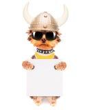 O cão vestiu-se acima como um viquingue com bandeira Foto de Stock Royalty Free