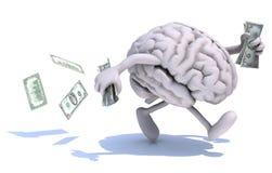 O cérebro com braços e os pés correm afastado com dinheiro ilustração do vetor