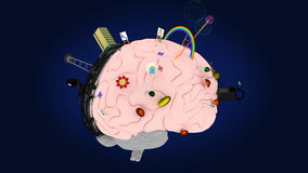 O cérebro com os símbolos dos dois hemisférios #2 Fotografia de Stock Royalty Free
