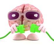 o cérebro 3d conecta a energia verde Foto de Stock Royalty Free