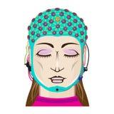 O cérebro da exploração da leitura de mente do dispositivo do EEG sinaliza a fêmea ilustração royalty free