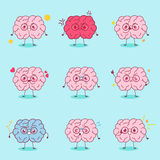 O cérebro dos desenhos animados faz a emoção diferente Fotos de Stock Royalty Free