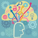 O cérebro e as ideias fluem Foto de Stock