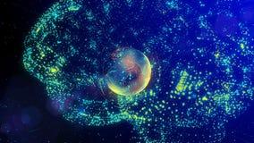 O cérebro que consiste em linhas luminosas e nos pontos que formam a terra do planeta filme