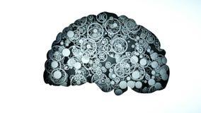 O cérebro saudável das engrenagens conceito mental da atividade Animação 4k lisa realística ilustração do vetor