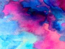 O céu bonito fresco do fundo do sumário da arte da aquarela nubla-se a fantasia borrada textured dia da lavagem molhada do ar Imagens de Stock