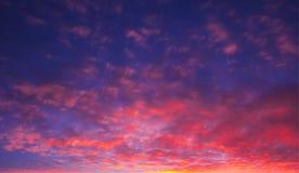 O céu marcado do fogo delicioso no por do sol com sol irradia fotografia de stock royalty free