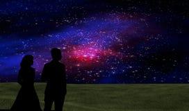 O céu noturno stars a cena Fotografia de Stock Royalty Free