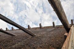 O céu velho incomum de construção das árvores do parque abriga o europa fotos de stock