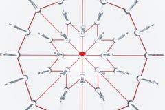 O círculo íntimo 3D das conexões de rede rende ilustração stock