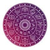 O círculo brilhante e branco do horóscopo da astrologia com zodíaco assina ilustração stock