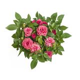 O círculo cor-de-rosa morno do ramalhete das rosas cercado pelo verde sae close up da vista superior Símbolo do amor, paixão, bel Foto de Stock
