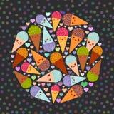 O círculo do projeto de cartão com o focinho engraçado do cone do waffle do gelado de chocolate da framboesa da hortelã de três K ilustração do vetor