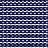 O círculo e a cruz brancos assinam teste padrão listrado na obscuridade - backgro azul Foto de Stock