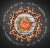 O círculo feliz do dia e do outono da ação de graças feito da árvore marrom sae Imagens de Stock Royalty Free