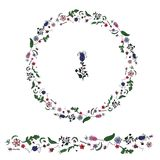 O círculo fez da grinalda dudling floral do whith dos elementos ilustração stock