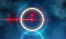 O círculo grande futurista escuro vazio de Sci Fi Hall Room With Lights And deu forma à luz de néon ilustração do vetor