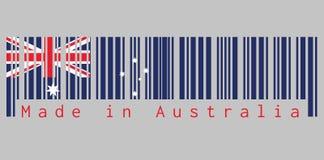 O código de barras ajustou a cor da bandeira de Austrália, a cor do vermelho azul e do branco com estrela branca e o Union Jack c ilustração stock