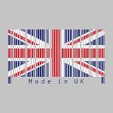 O código de barras ajustou a cor da bandeira, do jaque de união e do texto BRITÂNICOS: Feito no Reino Unido ilustração royalty free