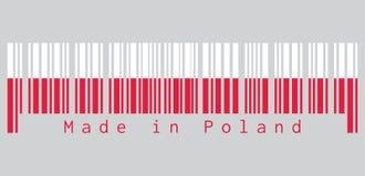 O código de barras ajustou a cor da bandeira do Polônia, de duas cores horizontal de A de branco e de vermelho texto: Feito no Po ilustração stock