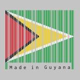 O código de barras ajustou a cor da bandeira de Guiana, um campo verde com o triângulo vermelho preto e triângulo dourado branco ilustração do vetor