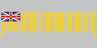 O código de barras ajustou a cor da bandeira de Niue, texto: Feito em Niue, no conceito da venda ou do negócio ilustração royalty free