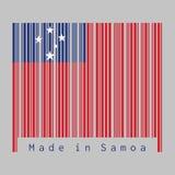 O código de barras ajustou a cor da bandeira de Samoa, o campo vermelho de A com o retângulo azul e a estrela branca ilustração royalty free