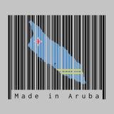 O código de barras ajustou a forma ao esboço do mapa de Aruba e à cor da bandeira de Aruba no código de barras preto com fundo ci ilustração stock