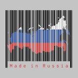 O código de barras ajustou a forma ao esboço do mapa de Rússia e à cor da bandeira de Rússia no código de barras preto com fundo  ilustração royalty free