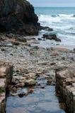 O córrego encontra o mar Imagens de Stock