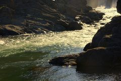 O córrego raging de um rio da montanha firmado por costas rochosos Altai, Sib?ria, R?ssia Paisagem fotografia de stock royalty free