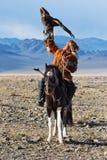 O caçador desconhecido com Eagle dourado mostra sua experiência na falcoaria Imagem de Stock Royalty Free