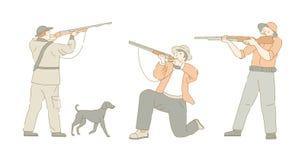 O caçador ou o caçador e o cão que caçam o esporte isolaram caráteres ilustração do vetor