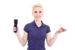 O cabeleireiro bonito feliz da mulher com ajustador do cabelo e scissor Foto de Stock Royalty Free