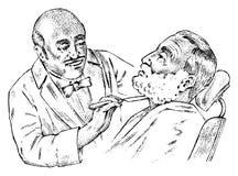O cabeleireiro corta sua barba na barbearia Ilustração gravada vintage Homem considerável no estilo monocromático ilustração royalty free