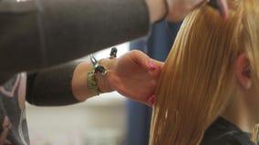 O cabeleireiro corta uma mulher com cabelo louro longo Close up do corte de cabelo video estoque