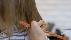O cabeleireiro do estilista faz um penteado para uma menina bonito em um salão de beleza Cabeleireiro, corte do cabelo filme