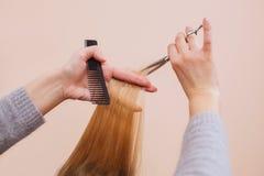 O cabeleireiro faz um corte de cabelo com as tesouras do cabelo a uma moça Fotografia de Stock