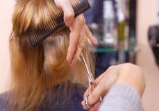 O cabeleireiro faz um corte de cabelo com as tesouras do cabelo a uma moça, um louro Imagem de Stock Royalty Free