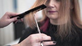 O cabeleireiro irreconhecível que corta o meio envelheceu o cabelo da mulher em um salão de beleza video estoque