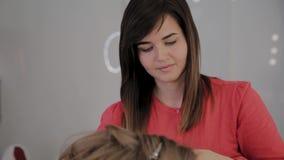 O cabeleireiro profissional faz o penteado de uma menina para uma sessão fotográfica vídeos de arquivo