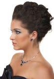 O cabelo, compo e jóia Imagens de Stock