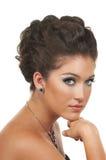 O cabelo, compo e jóia Foto de Stock Royalty Free