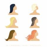O cabelo e os penteados das mulheres Imagens de Stock