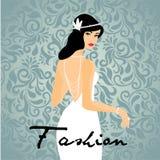 O cabelo longo das mulheres bonitas com projeto branco do vestido, projeto do vetor Imagens de Stock