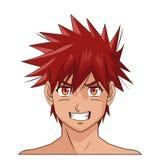 O cabelo vermelho masculino do anime do manga da cara do retrato eyes a expressão Imagens de Stock